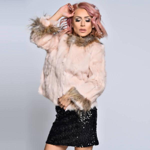 Палто естествен косъм заек с яка лисица Москва розово