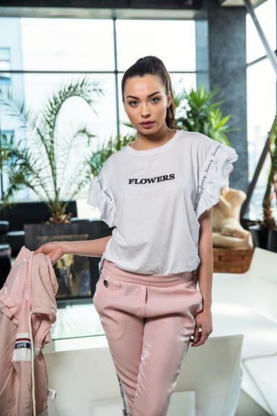 Дамска бяла тениска ''Цвете''