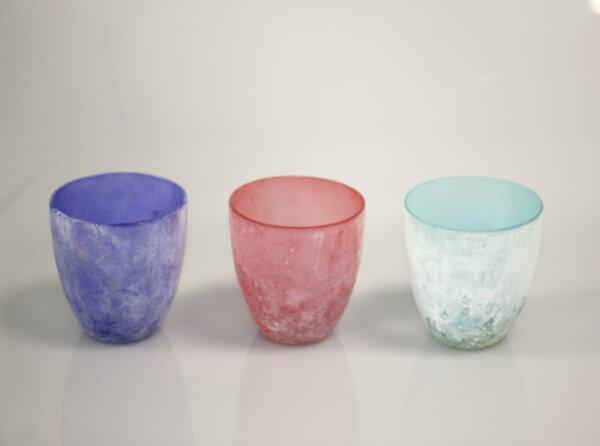 Комплект цветни стъклени чаши