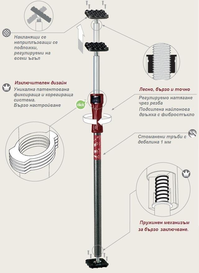 P1 Подпора Multiprop 600-1000мм-Piher