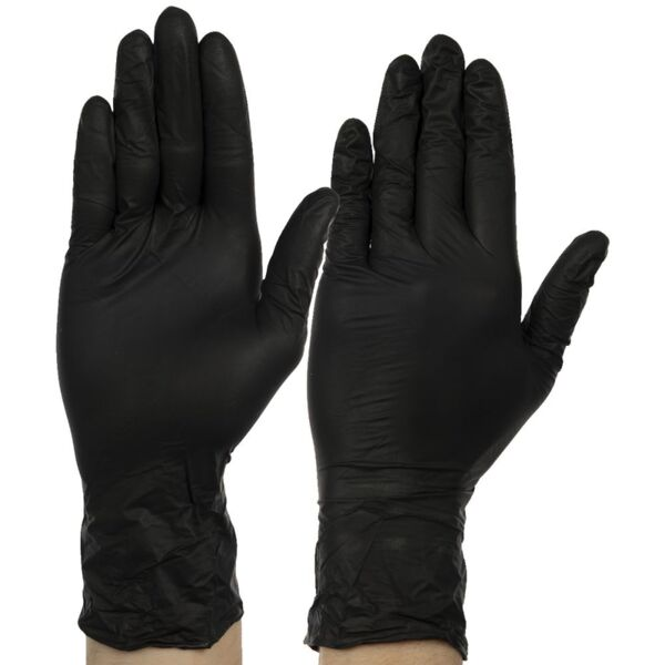 Нитрилни ръкавици без талк за еднократна употреба без пудра - Черни