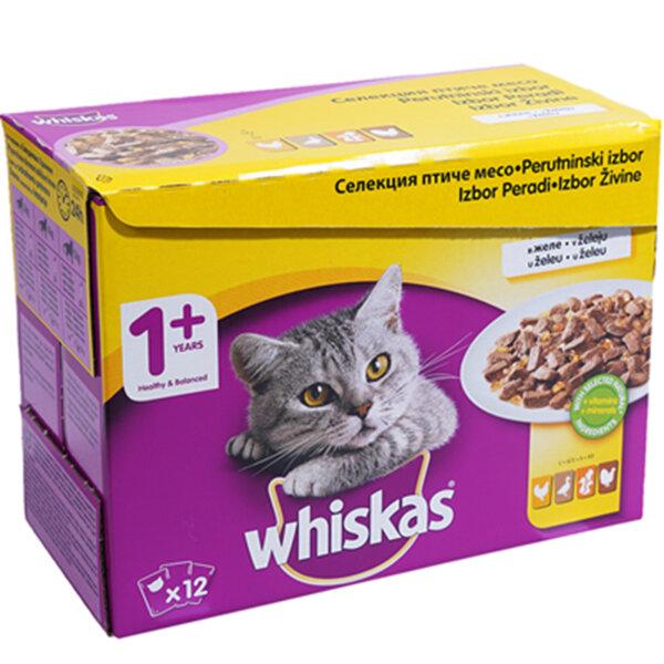 Храна за котки Whiskas Селекция птиче месо 12х 100гр.