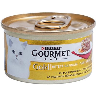 Храна за котки Gourmet Gold 85гр Пай с месо от пиле и моркови