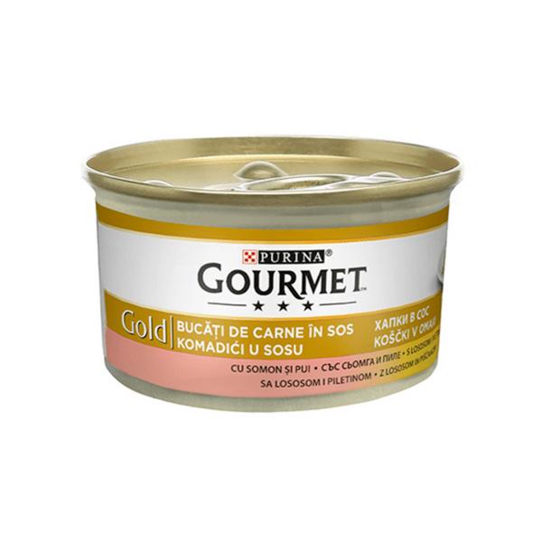Храна за котки Gourmet Gold 85гр Хапки в сос със сьомга и пиле