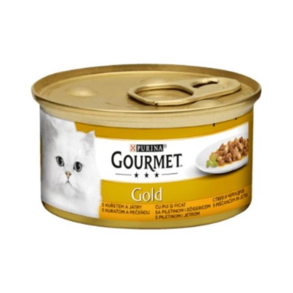 Храна за котки Gourmet Gold 85гр Хапки в сос с пиле и черен дроп