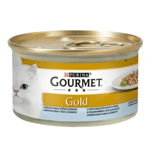 Храна за котки Gourmet Gold 85гр Двойно Удоволствие с океанска риба в сос със спанак