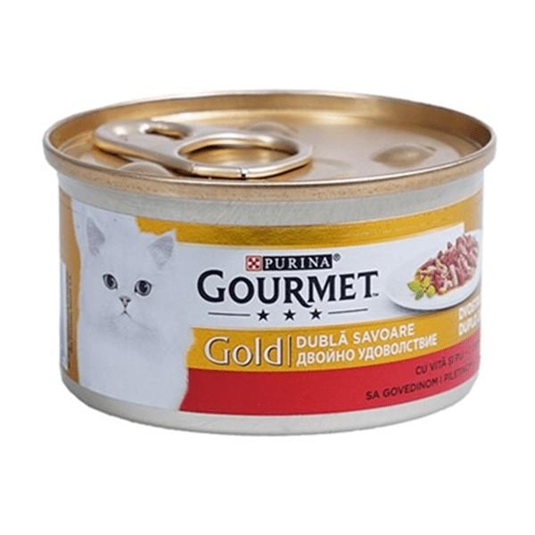 Храна за котки Gourmet Gold 85гр Двойно Удоволствие с говеждо и пиле