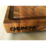 """Кухненска """"End grain"""" дъска за рязане и сервиране на стекове Chunche, с улей"""