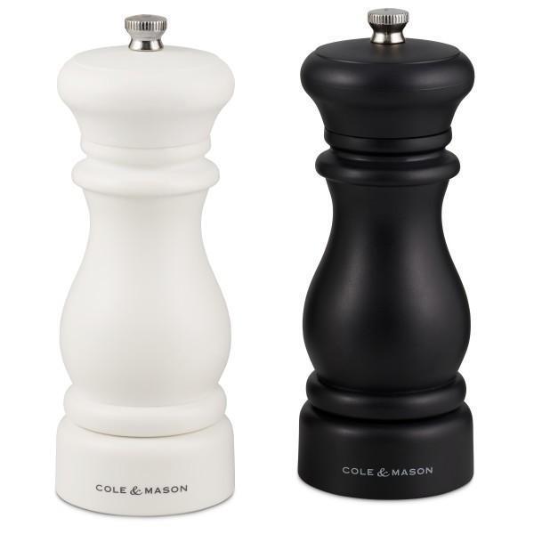 Комплект мелнички Cole & Mason - Southwold, за сол и пипер, настройка на степени, черна и бяла