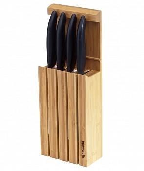 Комплект Kyocera - 4x керамични кухненски ножа и бамбукова поставка, черни