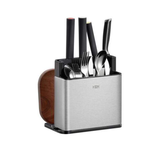 Поставка/органайзер Eko - 862705, за кухненски прибори, L размер, сребриста