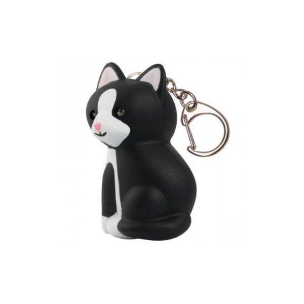 Ключодържател LED черно - бяла котка