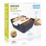 Кутия за хляб, купички за разядки и дъска за рязане - тъмно синя