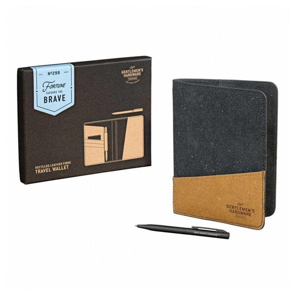 Портфейл за пътуване Gentlemen's Hardware, с химикалка от рециклирана кожа