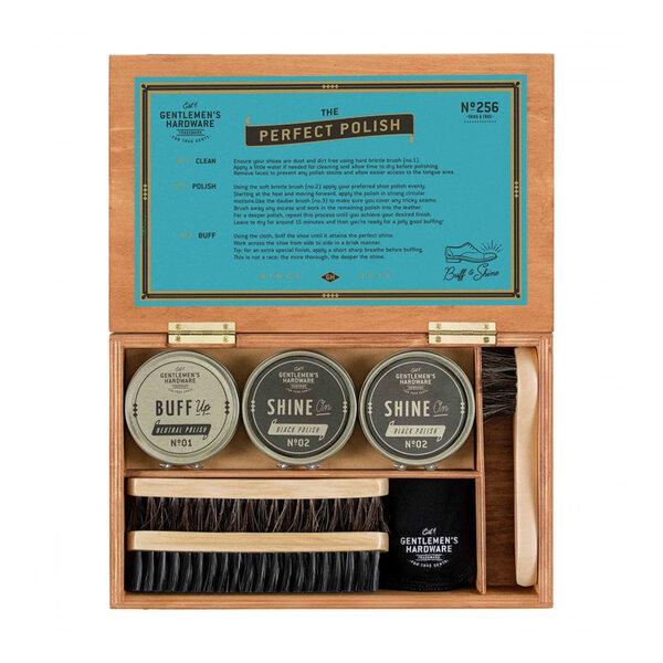 Комплект за почистване на обувки в дървена кутия Gentlemen's Hardware