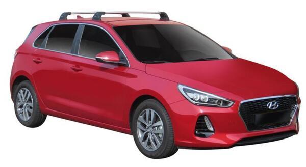 Черни супер аеродинамични греди за Hyundai i30 Hatchback модел след 2017 година със стъклен таван