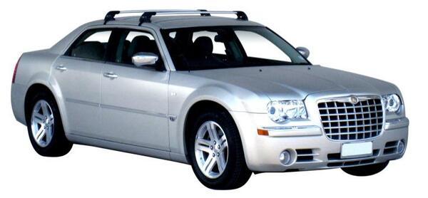 Сиви супер аеродинамични греди Yakima Flush за Chrysler 300C седан с 4 врати