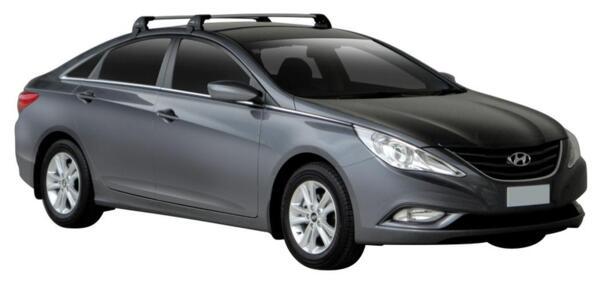 Черни супер аеродинамични Yakima Flush греди за Hyundai Sonata седан модел след 2010 до 2015 година