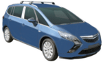 Черни Yakima Flush греди за Opel Zafira C от 2011 до 2020 година с вградени надлъжни греди S26YB+K755