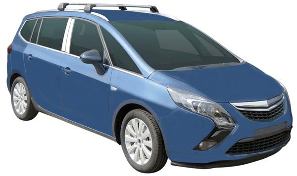 Черни Yakima Flush греди за Opel Zafira C от 2011 до 2020 година с вградени надлъжни греди