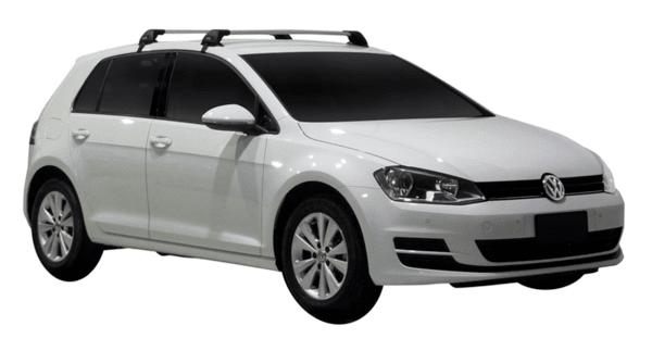 Черни Yakima Flush греди за VW GOLF 7 Hatchback с 5 врати от 2012 до 2020 година