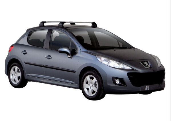 Сиви Аеродинамични греди Yakima Flush за Peugeot 207 Hatchback с 3 или 5 врати