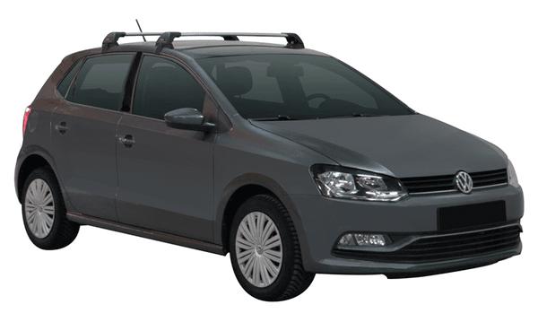 Черни Yakima Flush греди за VW Polo 2009-2018 модел с 5 врати