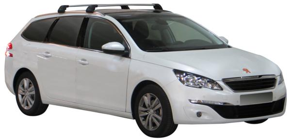 ЧЕРНИ Yakima Flush греди за Peugeot 308 комби модел след 2014 година с вградени надлъжни греди