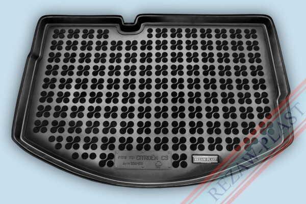 Гумена стелка за багажник на Citroen C3 II версия с резервна гума с неправилен размер (спестяване на пространство, по-малка от стандартните гуми) от 2009 до 2016 година