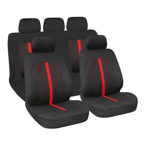 STINGER Black-Red - Комплект Универсални Калъфки за предни и задни седалки