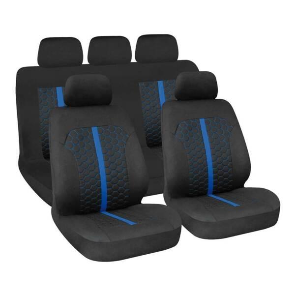 STINGER Black-Blue - Комплект Универсални Калъфки за предни и задни седалки