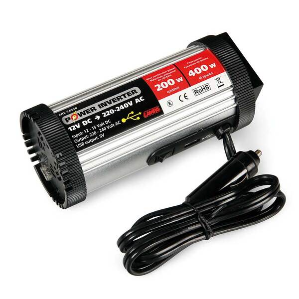Power Inverter 200 - Инвертор на мощност от 12V DC към 220V AC - 200W номинална до 400W пикова мощност