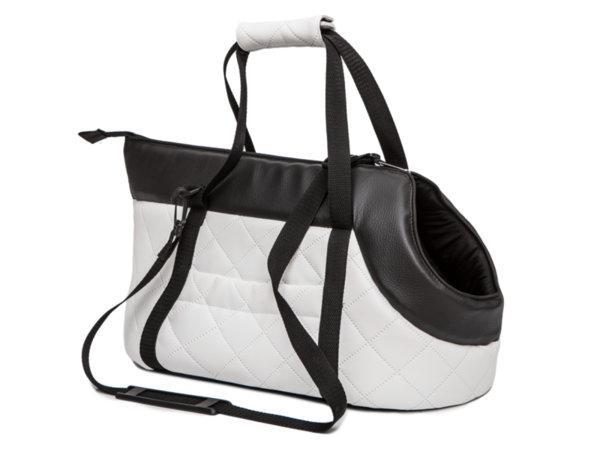 Чанта за куче,еко кожа,бяло/черно размер 1