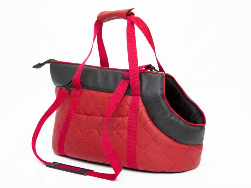 Чанта за куче,еко кожа,червена, размер 2