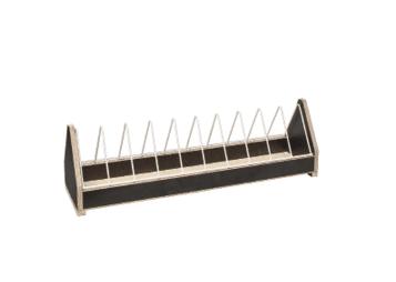 Дървена хранилка с метална преграда