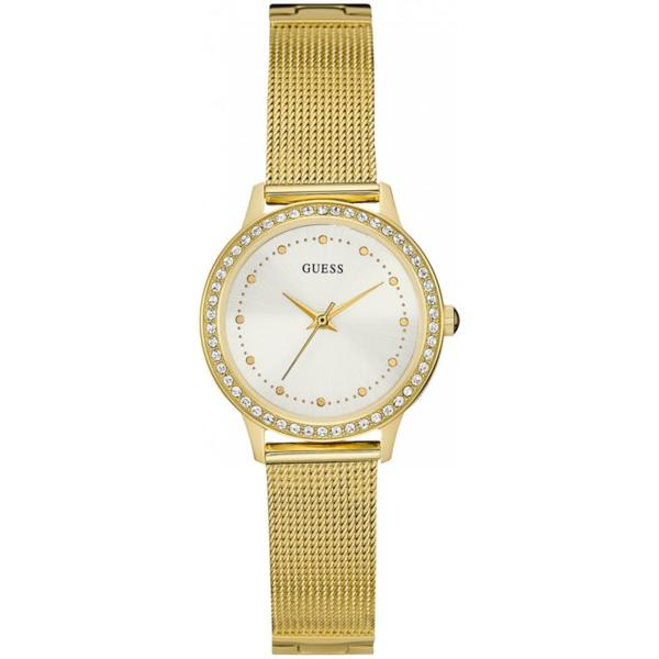 Дамски часовник Guess Chelsea Gold Mesh Strap White Dial