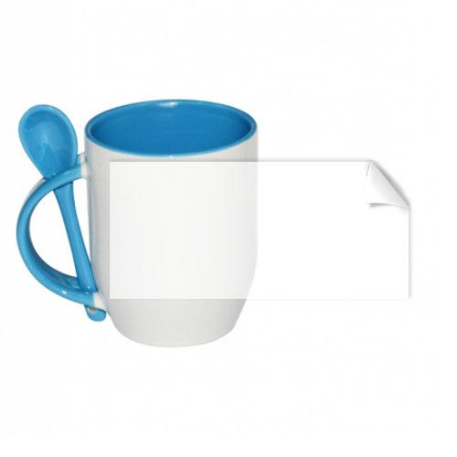 Чаша с лъжичка със син пълнеж и дръжка
