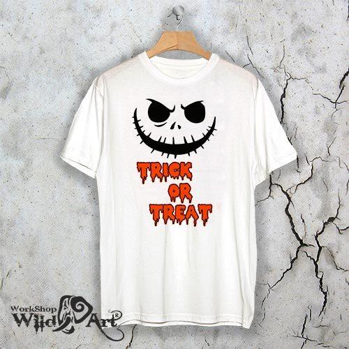 Бяла тениска за Хелоуин Trick or Treat W3