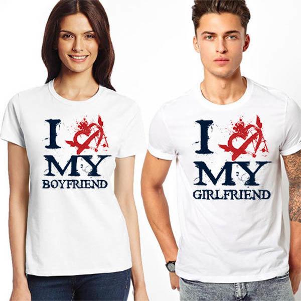 Тениски за двойки I love my boyfriend/girlfriend K 8036/K 8037