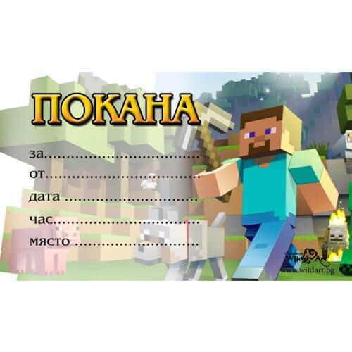 """10 бр. покани за детски празник """"Minecraft"""""""