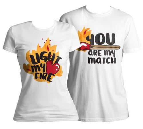 """Тениски за Св.Валентин """"Fire and match"""" vl117-c"""