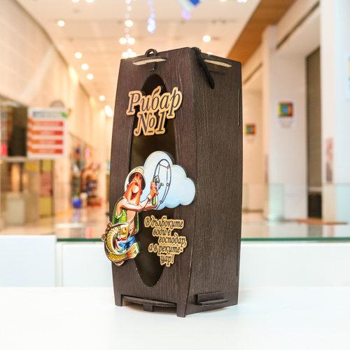 """Дървена кутия за вино """"Рибар №1"""""""