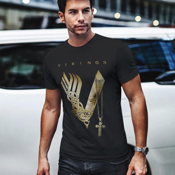 Тениска - Vikings gold logo VGS108