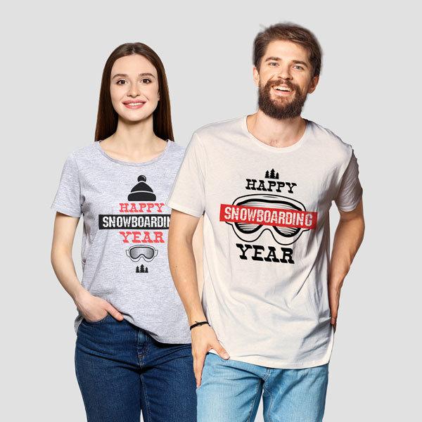 Коледни семейни тениски - happy snowboarding year chr1916