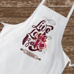 Персонална готварска престилка - Live love bake