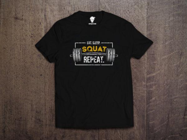 Ninja Тениска - Фитнес и кросфит - Eat sleep squat