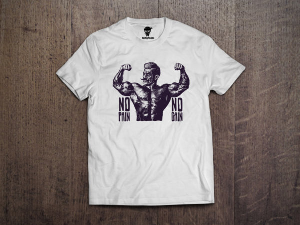 Ninja Тениска - Фитнес и кросфит - No pain no Gain