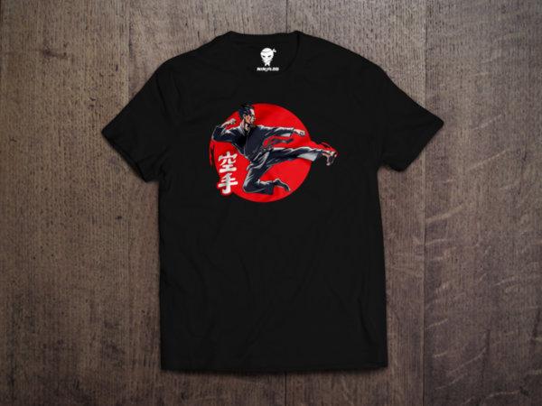 Ninja Тениска - Карате - Fighter red sun
