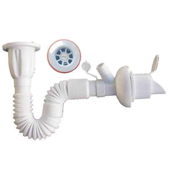 Сифон за мивка с разклонение за пералня 75 см L04 AKVO