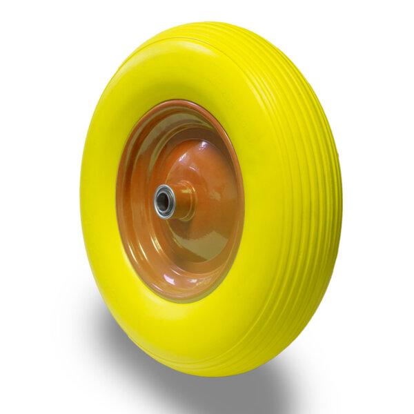 Колело за количка 360mm PU джанта жълто PREMIUM